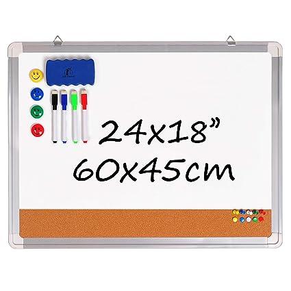Pizarra Blanca Magnética con Corcho - Tablero de Pared 60x45cm + 1 Borrador Magnético, 4 Rotuladores Borrado en Seco, 4 Imanes y 10 Chinchetas de ...