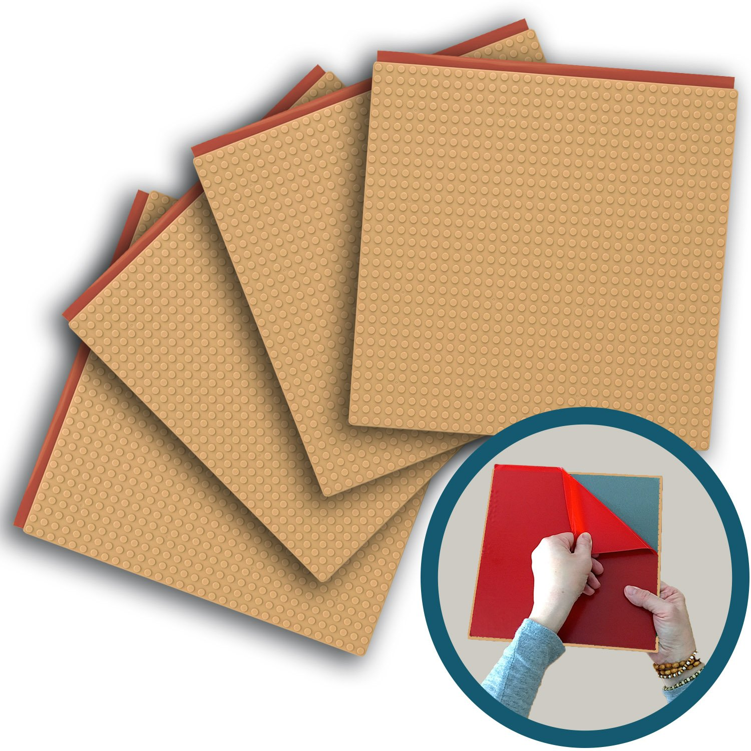 Peel-and-stick Baseplates - Self Adhesive Building Brick Plates - Compatible With All Major Brands - 4 Pack - Tan - 10 Inch X 10 Inch - By Creative Qt