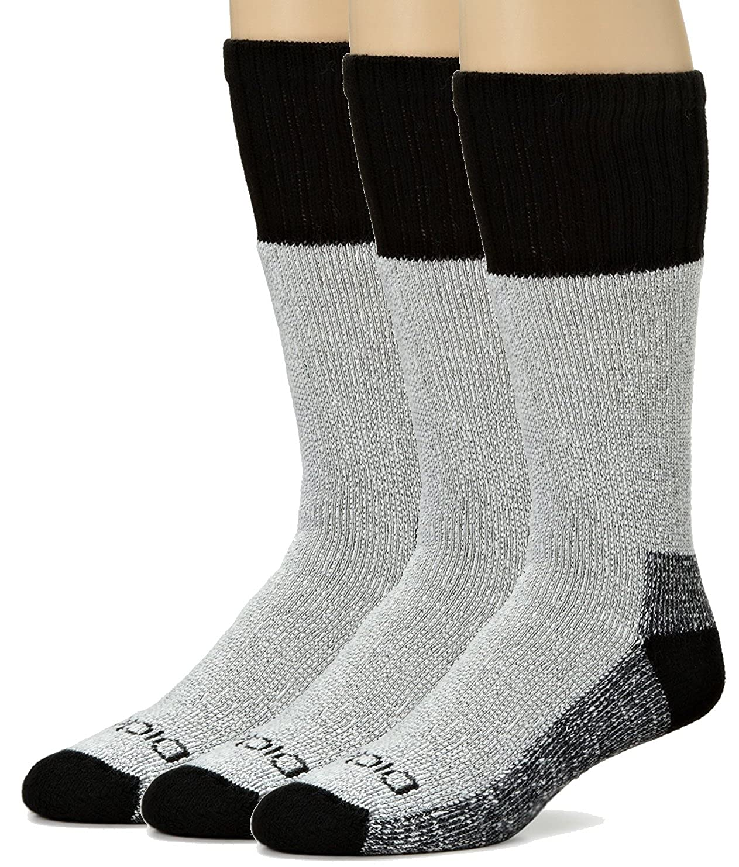 Size 10-13 Mens High Tech Thermal Wool Socks 3 Pack Black//Denim//Gray