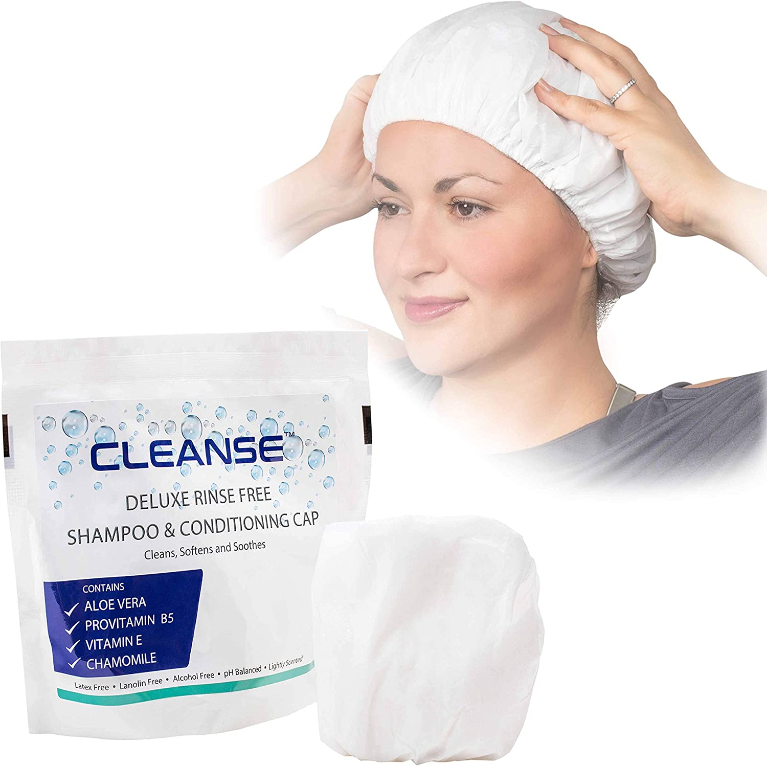 Deluxe Rinse Free Shampoo and Conditioning Cap – 5 Pack – Waterless Shampoo and Conditioning Shower Cap - Use Anytime, Anywhere – 3 Minutes - No Water Wash - Cleanse