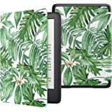 MoKo Case Fits All-New Kindle (10th Generation - 2019 Release Only), Thinnest Protective Shell Cover with Auto Wake/Sleep, Will Not Fit Kindle Paperwhite 10th Generation 2018 - Green Palm Leaf