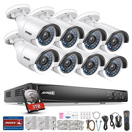 ANNKE Kit Sistema de Seguridad 8 Cámaras de vigilancia(16CH PoE NVR H.264
