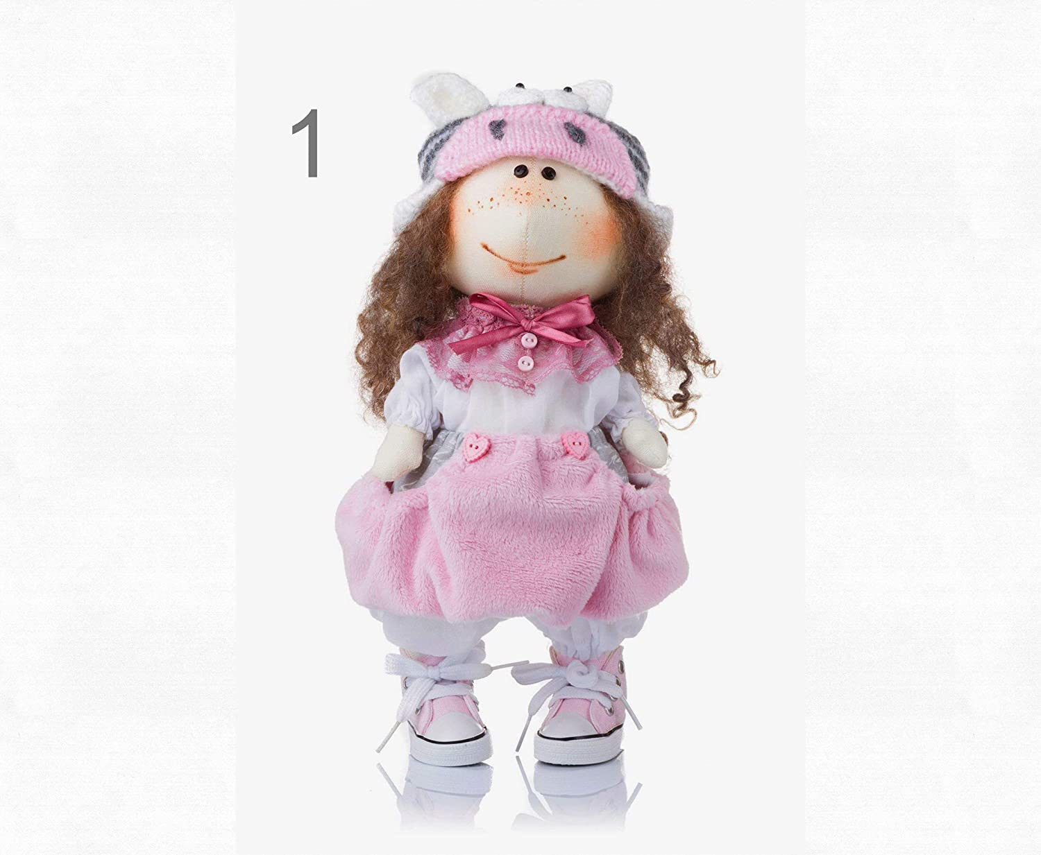 Handmade Soft Toy American Girl Doll In Zebra Hat 14 Inch Collectible Dolls Room Decor