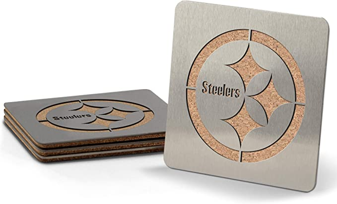 Amazon.com : NFL Pittsburgh Steelers Boaster Stainless Steel Coaster Set of 4 : Sports & Outdoors