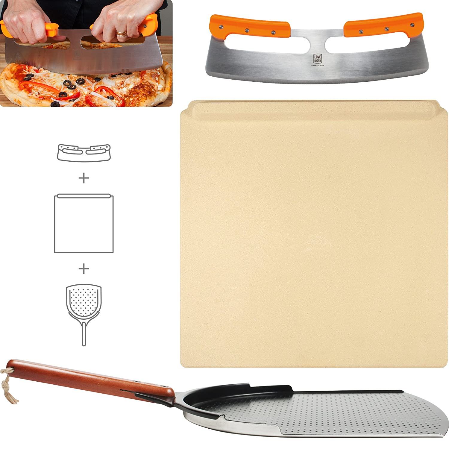 """The Ultimate Pizza Making Set - 14"""" x 16"""" Pizza Stone, 14"""" Aluminum Pizza Peel and 14"""" Stainless Steel Rocker Pizza Cutter   Great for Baking Pizza, Cookies and Bread in Any Oven or Grill"""