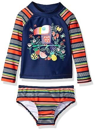 9a32090e01aa3 Amazon.com: Kiko & Max Baby Girls Suit Set with Long Sleeve Rashguard Swim  Shirt: Clothing