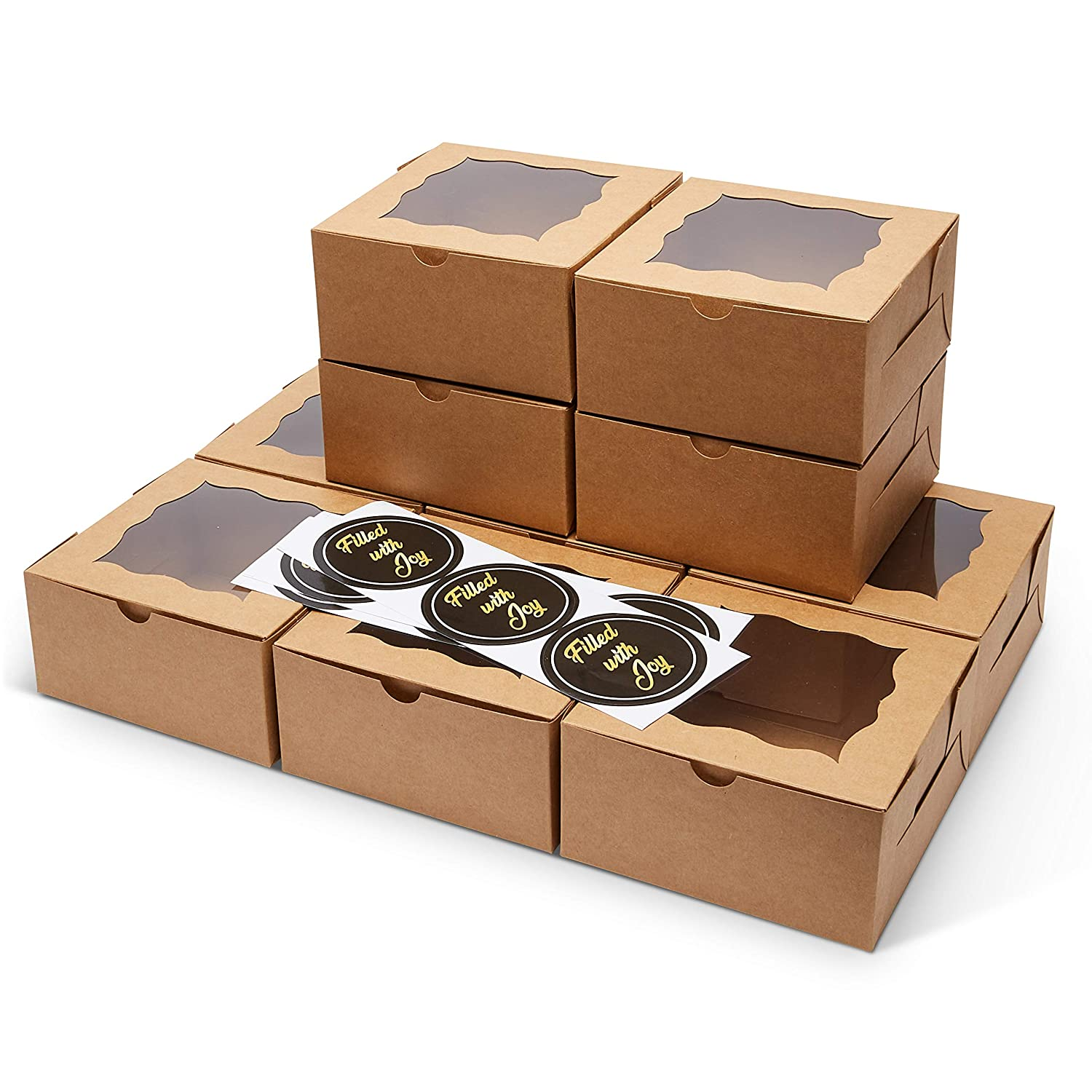 FREVES Brown Bakery Boxes - 25 Pack - Bakery Box with Window - Desserts, Soaps, Gifts - Free Stickers - Easy Assembly - Durable Pastry Boxes - 6x6x3 - Natural Color