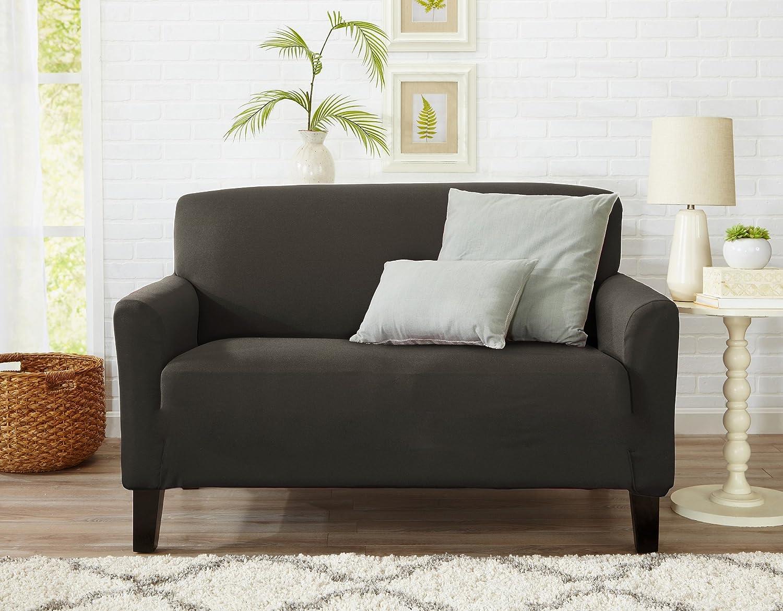 Great Bay Home フォームフィット 滑り止め スタイリッシュな家具シールド/プロテクター 軽量なツイル生地ドーソンコレクション ベーシックストラップレススリップカバー Love Seat グレー GB38022-CA Love Seat Cloudburst Grey B0764DSS2N