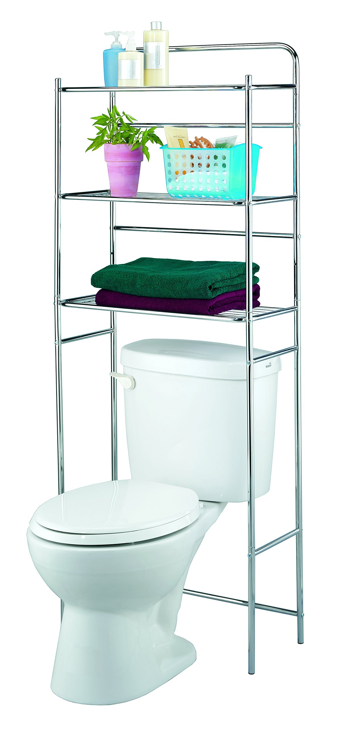 Finnhomy 3 Shelf Bathroom Space Saver Over Toilet Rack Bathroom Corner Stand Storage Organizer Accessories Bathroom Cabinet Tower Shelf Metal Stainless Steel with Chrome Finish 23.5''W x 10''D x 60''H