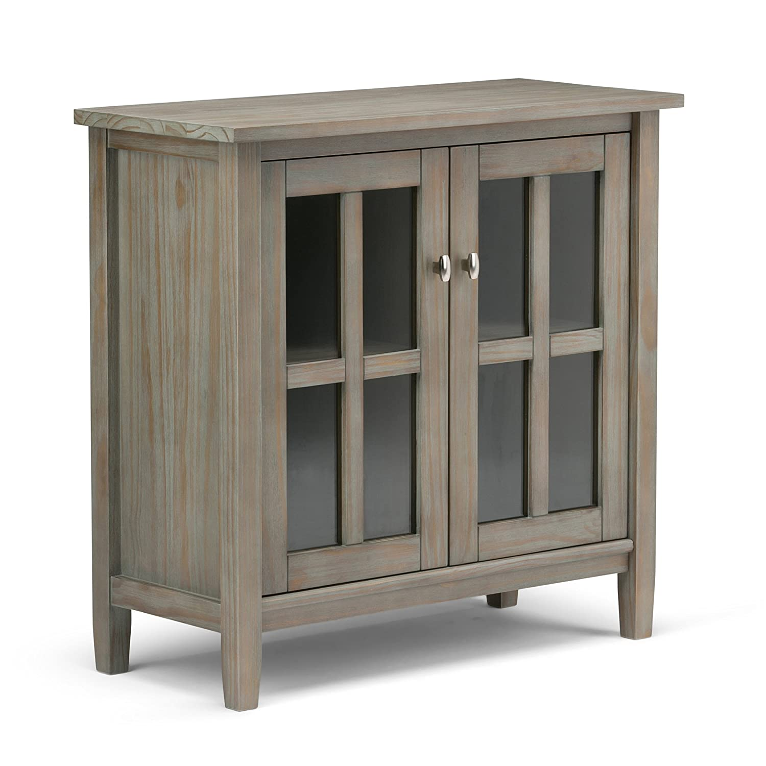 Simpli Home AXWSH009-GR Warm Shaker Solid Wood 32 inch Wide Rustic Low Storage Cabinet in Distressed Grey