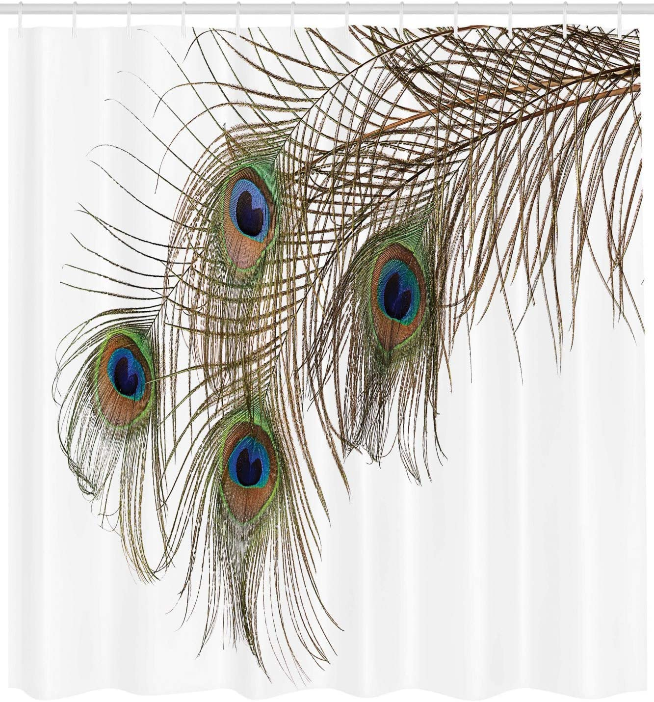 "Ambesonne Peacock Shower Curtain, Feather of Peacock Power Rising Out of Theshes Creature, Cloth Fabric Bathroom Decor Set with Hooks, 84"" Long Extra, White Green"