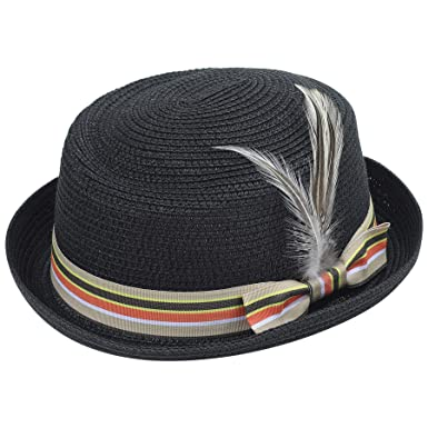 18d3d9afaf4316 Coucoland Straw Boater Hat with Feather 1920s Mens Gatsby Hat Panama Straw  Sun Hats Men Roaring 20s Costume Accesories for Men (Black): Amazon.co.uk:  ...