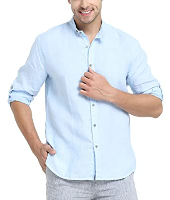 f14f3a837502f6 Najia Symbol Men's 100% Linen Mandarin Collar Long Sleeve Shirt (Blue, ...