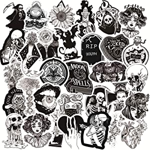 50PCS Gothic Stickers for Water Bottle,Black White Skull Stickers,Waterproof Vinyl Stickers Perfect for Hydro Flask Laptop Phone Car Skateboard
