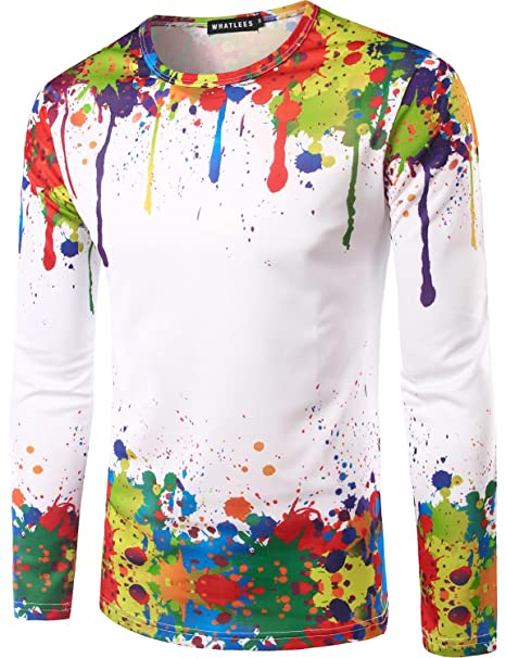 dcd2580d322282 Whatlees Mens Paint Splashes Printed Round Neck Long Sleeve T shirt Tops  (Asian L(