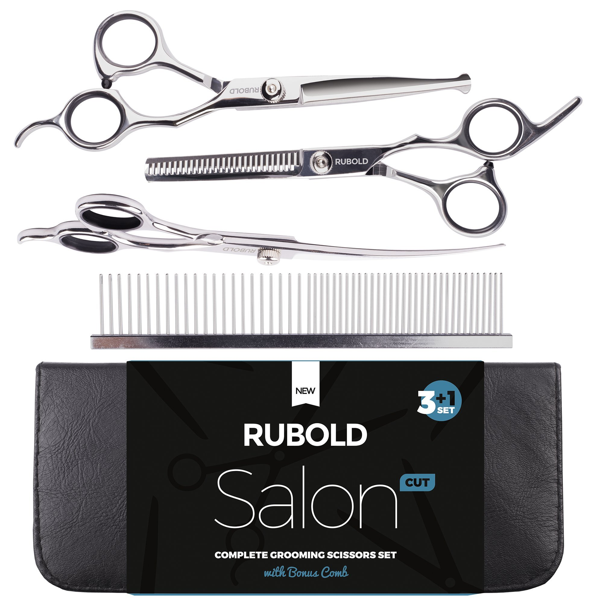 RUBOLD Professional Dog Grooming Scissors Set — Stainless Steel Rounded Tip Sharp Durable Shears with Pet Grooming Comb in Kit — Best Tools for Trimming Every Dog and Cat Salon Cut