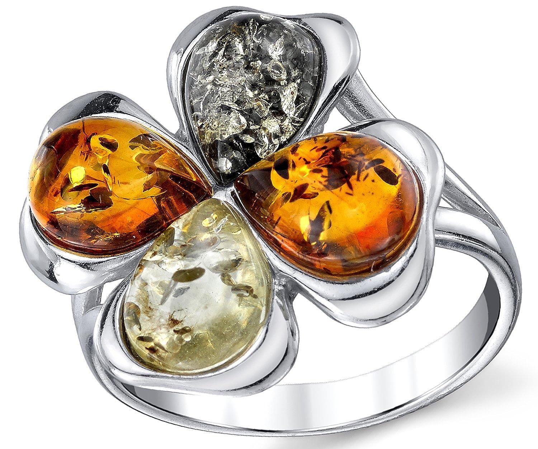 Pour Femme Int/érieur Confort Ultimate Metals Co./® Bague en Argent Sterling avec ambre baltique multicouleur