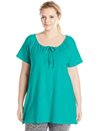 Just My Size Women's Plus-Size Slub Jersey Crochet Trim Tunic with Drawcord