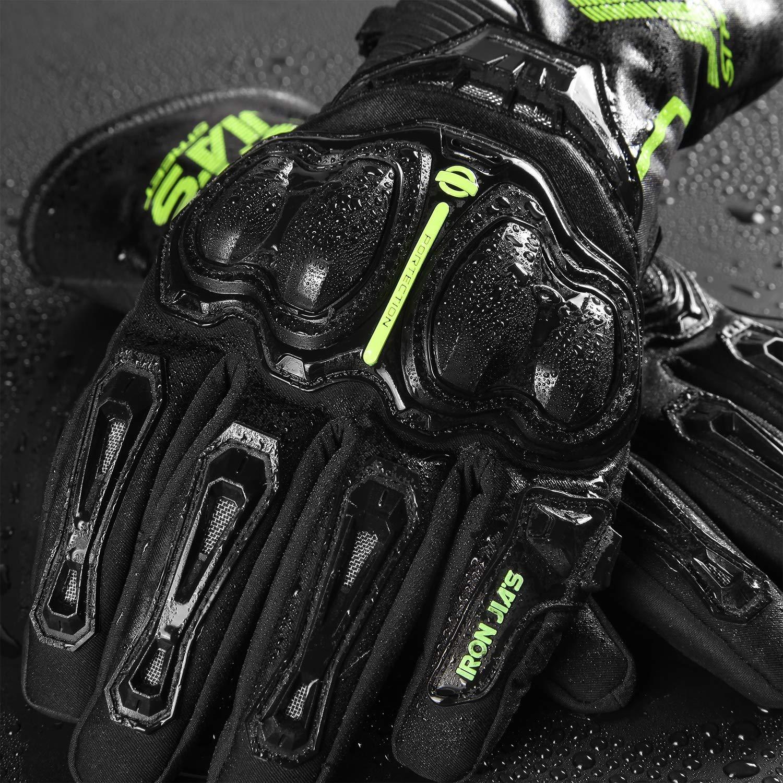 Guantes de Motociclista de Fibra de Completo Dedo Puede Pantalla t/áctil Guantes de Moto Impermeable de Invierno t/érmico
