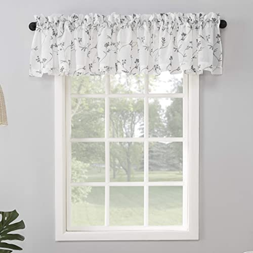 No. 918 Delia Embroidered Floral Sheer Rod Pocket Curtain Valance, 50 x 17 , White
