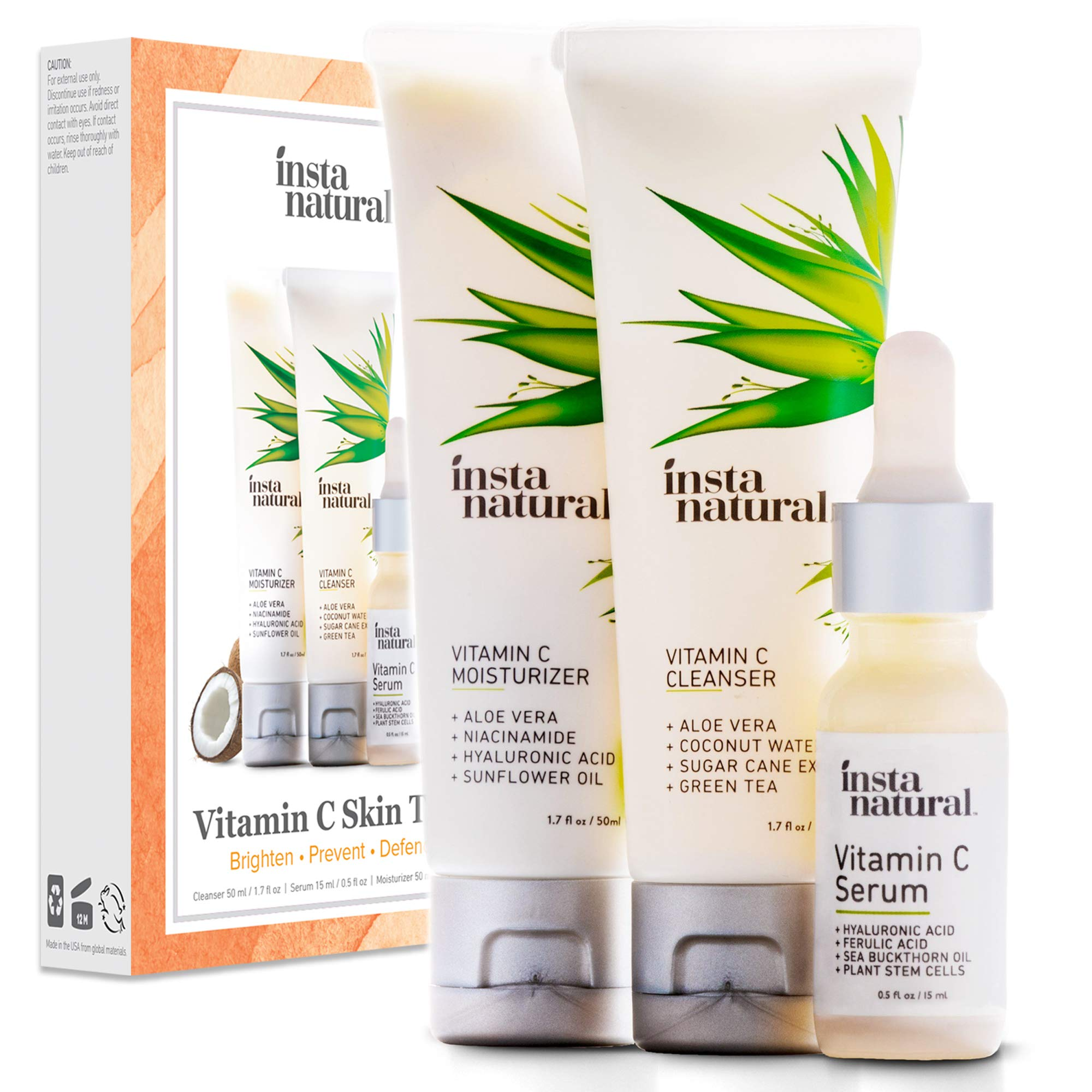 Vitamin C Skin Trio Bundle - 30 Day Starter Kit - Cleanser, Serum, Moisturizer Combo - Natural & Organic Anti Aging Face Treatment - Reduces Wrinkles, Dark Circles & Boost Collagen - InstaNatural by InstaNatural