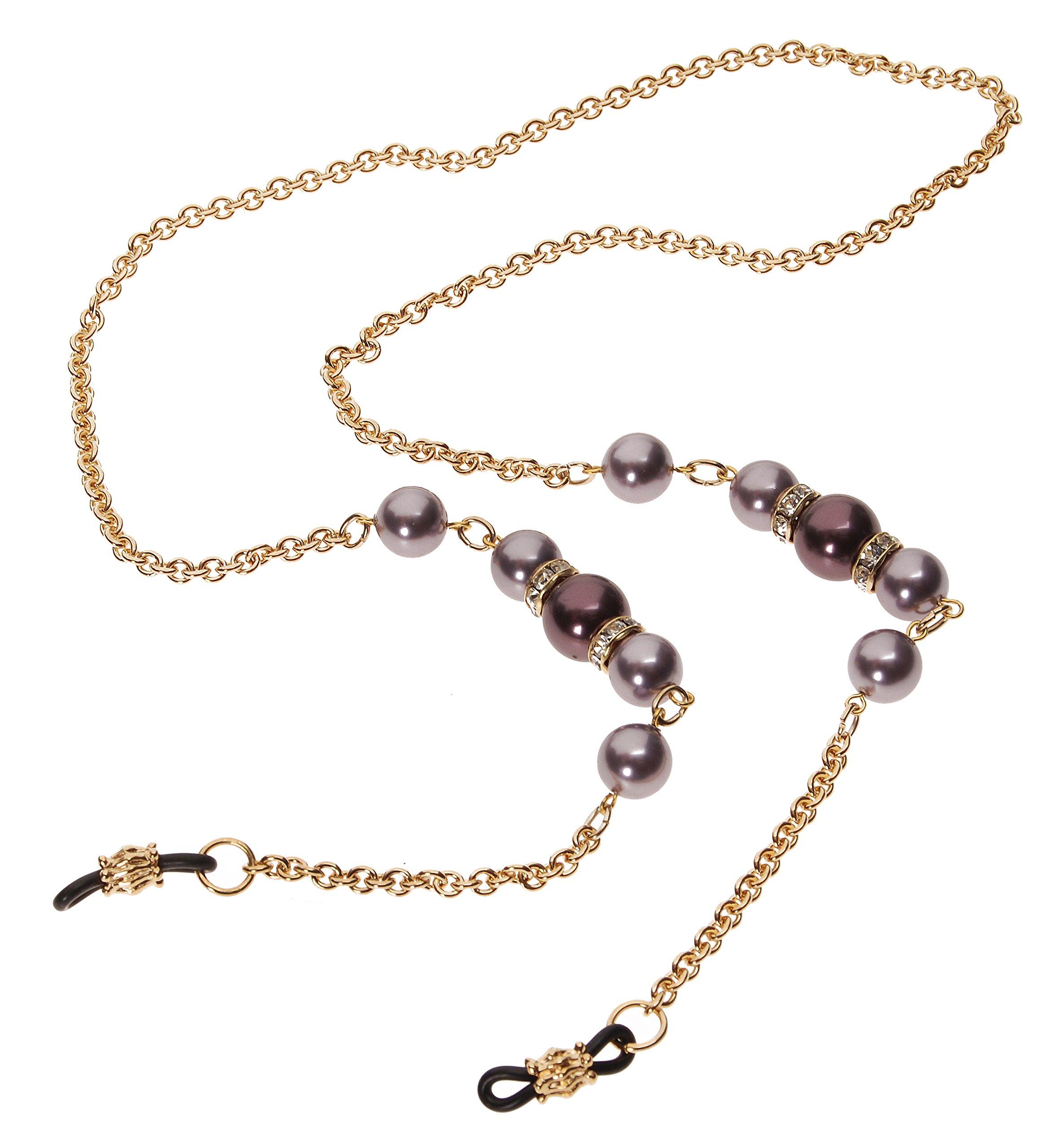 L. Erickson Cadabra Eyeglass Chain - Burgundy Pearl/Mauve Pearl/Crystal/Gold
