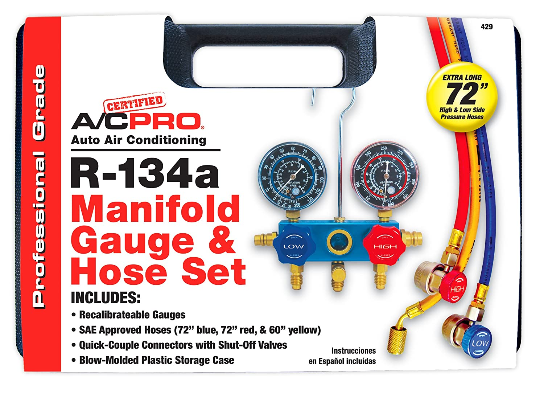 429 Certified A//C Pro R-134a Manifold Gauge /& Hose Set
