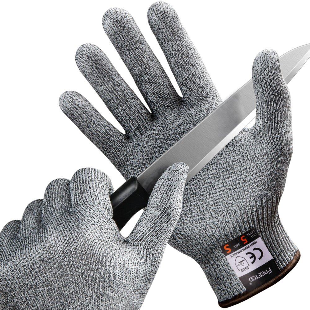 FREETOO Gants Anti-Coupure Protection De Cuisine Bricolage- Ré sistant, Souple, Flexible, Antidé rapant, Lavable Et Vert Pour Aliments-- Paire S Antidérapant