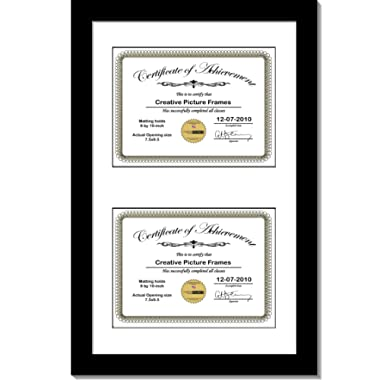 CreativePF [14x20bk-w] Black Vertical Double Diploma Frame with 2 Opening White Matting | Holds 2-8x10-inch Documents with Installed Wall Hanger