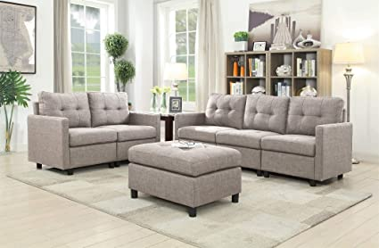 Peachy Modular Sectional Sofa Loveseat Set With Ottoman Linen Fabric Living Room Furniture Interlocking Set Sofa Loveseat W Ottoman Pabps2019 Chair Design Images Pabps2019Com
