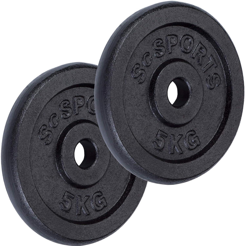 contr/ôl/é par Intertek examen r/éussi ScSPORTS Set de disques dhalt/ère de 10 kg 2 x 5 kg poids en fonte avec trou de per/çage 30//31 mm