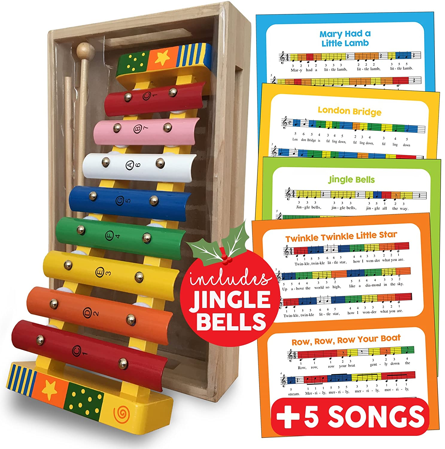 Xylophone Glockenspiel Musical Instrument Wooden Toy Percussion Musical Instrument Gift for Toddlers with Song Sheets and Wooden Storage Box; Baby Musical Instruments Educational Percussion Sound Toy Gift; Musical Instruments for Toddlers Bee Smart Xylo_0