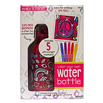 Horizon Group USA Make it Mine Color Your Own Water Bottle Craft Kit: Toys & Games