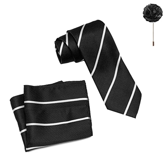 8afaf883ae4e MENSOME Solid Men's Black Neck tie with Flower brooch and Pocket Square  gift set: Amazon.in: Clothing & Accessories
