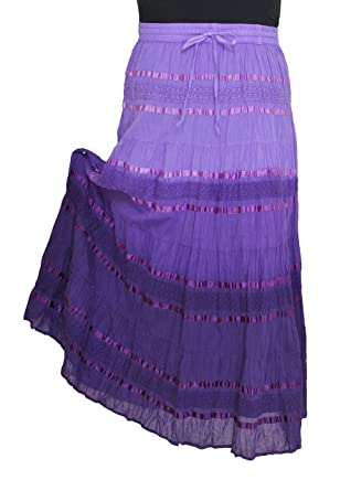 """8762e671a5 Amazon.com: Sacred Threads """"Ombre"""" Long Skirt - One size #212835 PURPLE:  Clothing"""