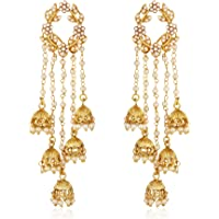 Shining Diva Fashion Gold Plated Stylish Pearl Jhumka Jhumki Traditional Earrings for Women and Girls (Golden) (8630er)