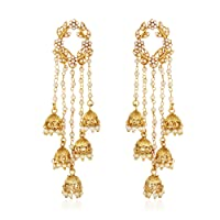 Shining Diva Fashion Jewellery Gold Plated Stylish Fancy Party Wear Pearl Jhumka Jhumki Traditional Earrings For Women & Girls(Golden)(8630er)