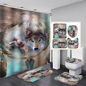 Fashion&Man 4PCS/Set Cool 3D Wolf Shower Curtain Polyester Fabric Waterproof Bath Curtain, Super Soft Bathroom Rugs Bath Carpet Toilet Mat Toilet Lid Cover, wtih 12 Hooks, 72x72in, Style 5