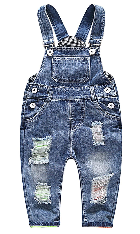 FEOYA Salopettes en Denim Bébé Fille Garçon Pantalons Combinaison Enfant pour Printemps Eté Automne
