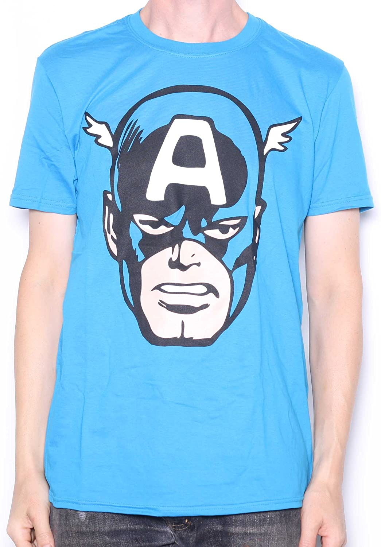 Marvel Comics T Shirt – Capitán América Cabeza 100% Oficial: Amazon.es: Ropa y accesorios