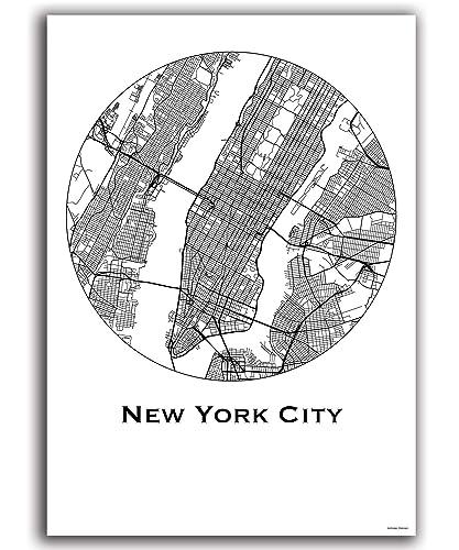 Poster New York City USA City Map Street Map Wall Decor Decorative ...