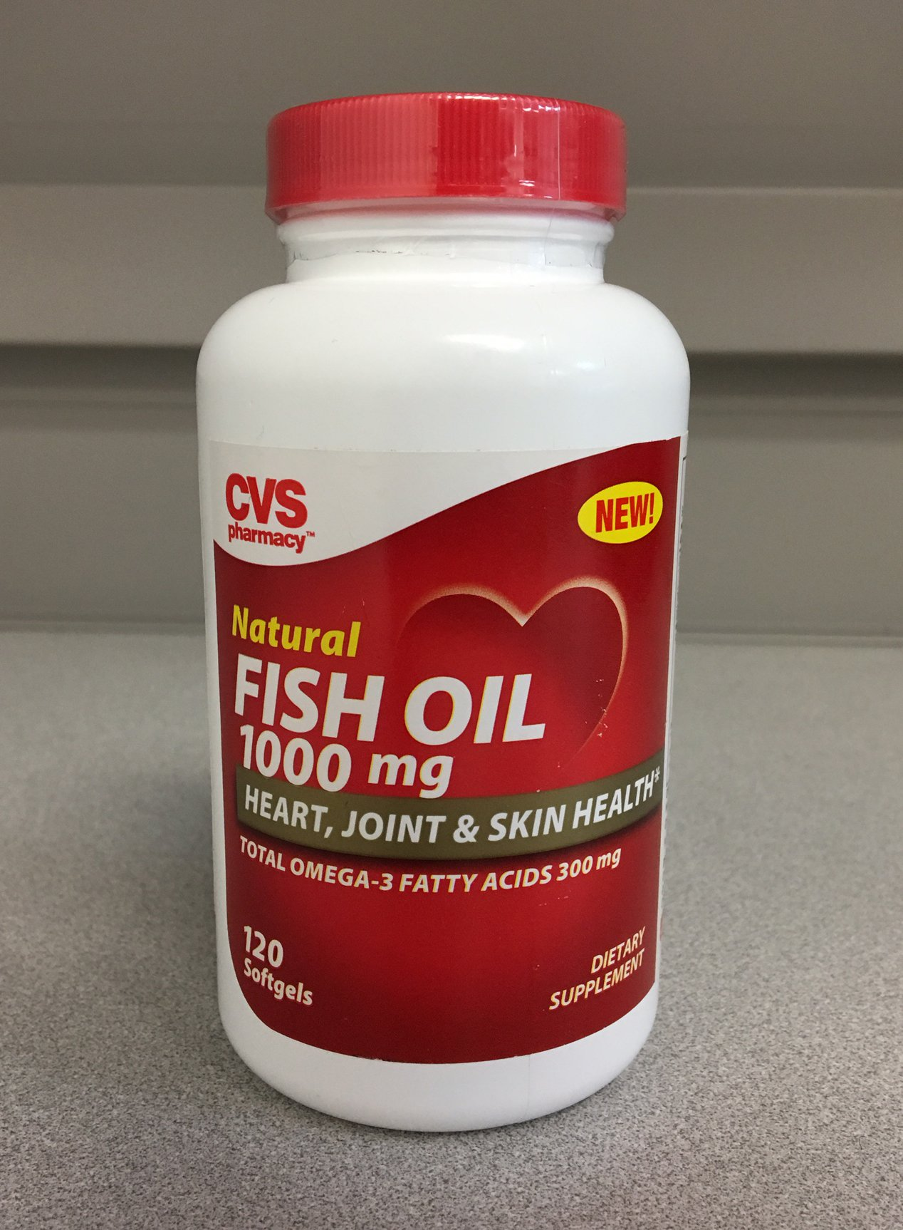 (Lot of 2) CVS Natural Fish Oil 1000 mg, 120 softgels, Heart, Joint, Skin Health,Total Omega-3 Fatty Acids 300 mg