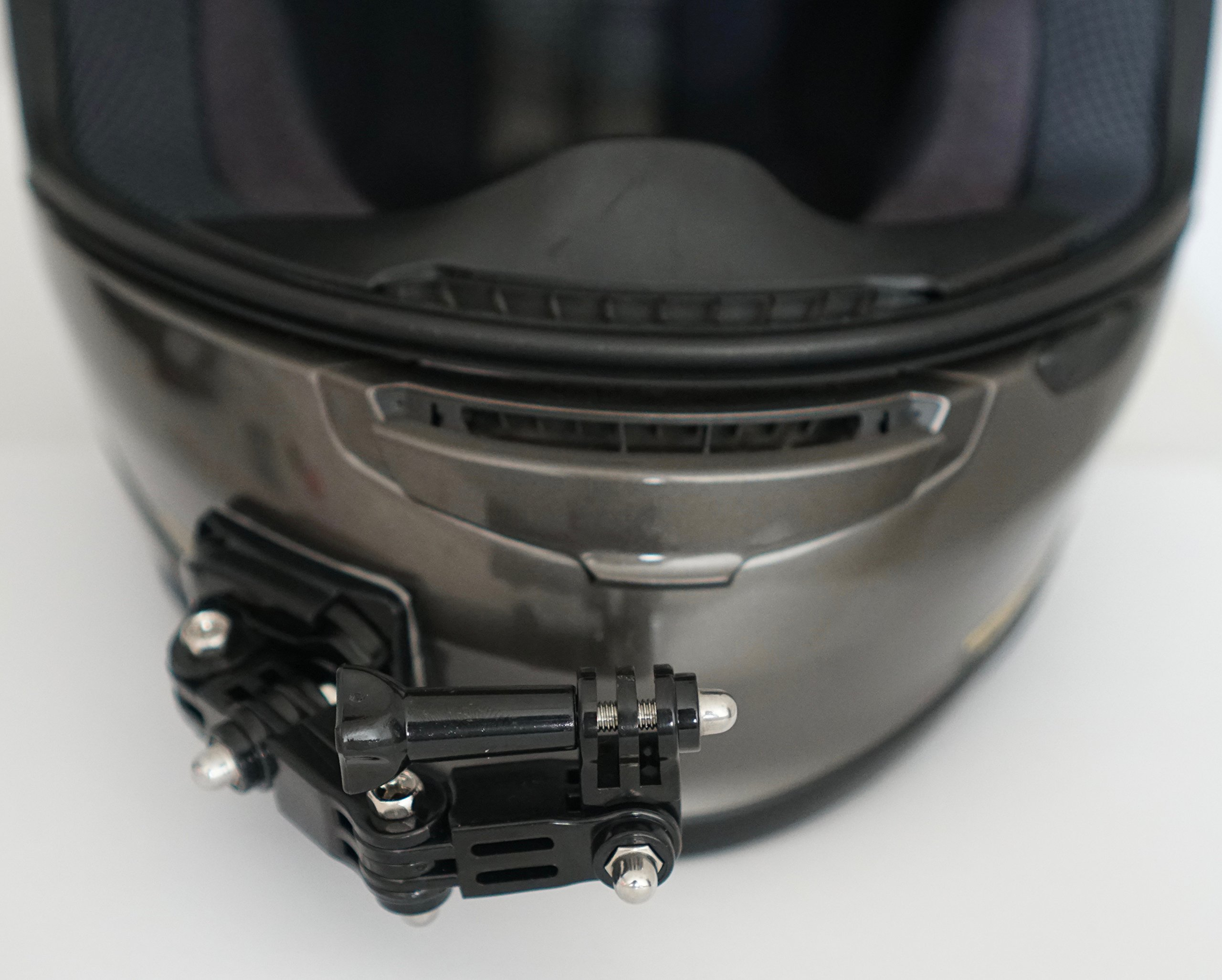 MotoRadds motorcycle curved Chin Mount Kit Frame GoPro Hero 3 6/5 Black Session 4 AKASO Campark YI Home Action Camera Front and Side Swivel curved head-Mounted with 3M Sticky Pad