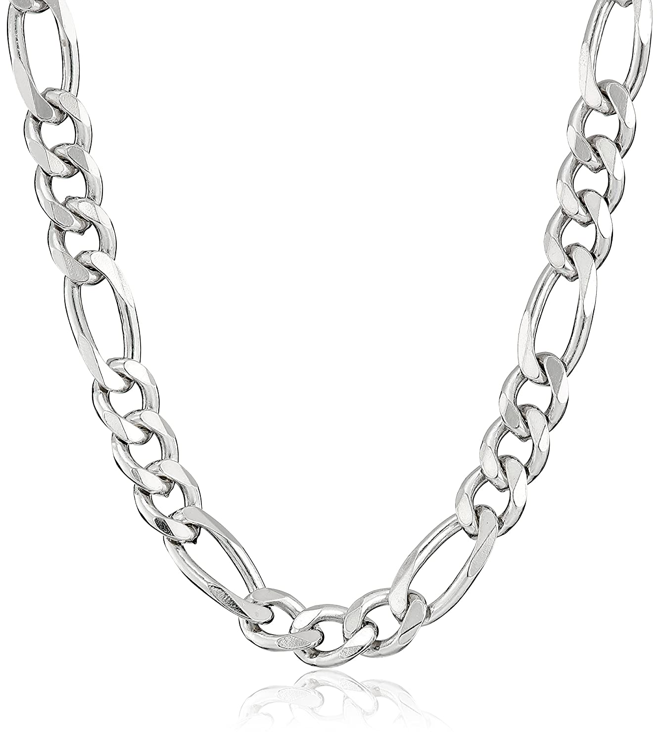 silver s necklace jewelry amazon solid link ca men figaro jewellery chain italian sterling dp