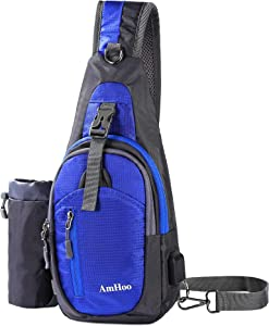 AmHoo Sling Backpack Chest Shoudler Crossbody Bag Waterproof Hiking Daypack Small RoyalBlue