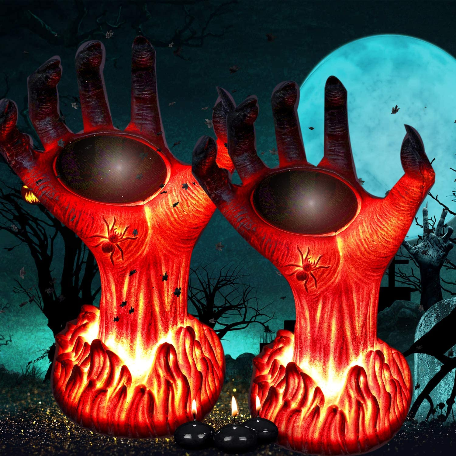 TONULAX Halloween Decoration Lights Outdoor, Solar Powered Burning Witch Hand Lights, Flickering Flame Lantern Lights, Super Realistic, Perfect Halloween Decor for Porch, Yard, Garden, Lawn(2 Pack)