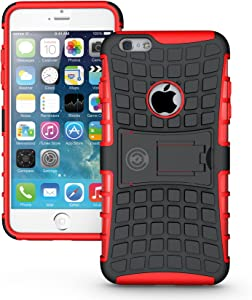 iPhone 6S Plus Case, iPhone 6 Plus Case by Cable And Case - Raised Screen Protector - Compatible Apple iPhone 6S Plus Case with Kick Stand - Phone Cases for iPhone 6s Plus- (RED)