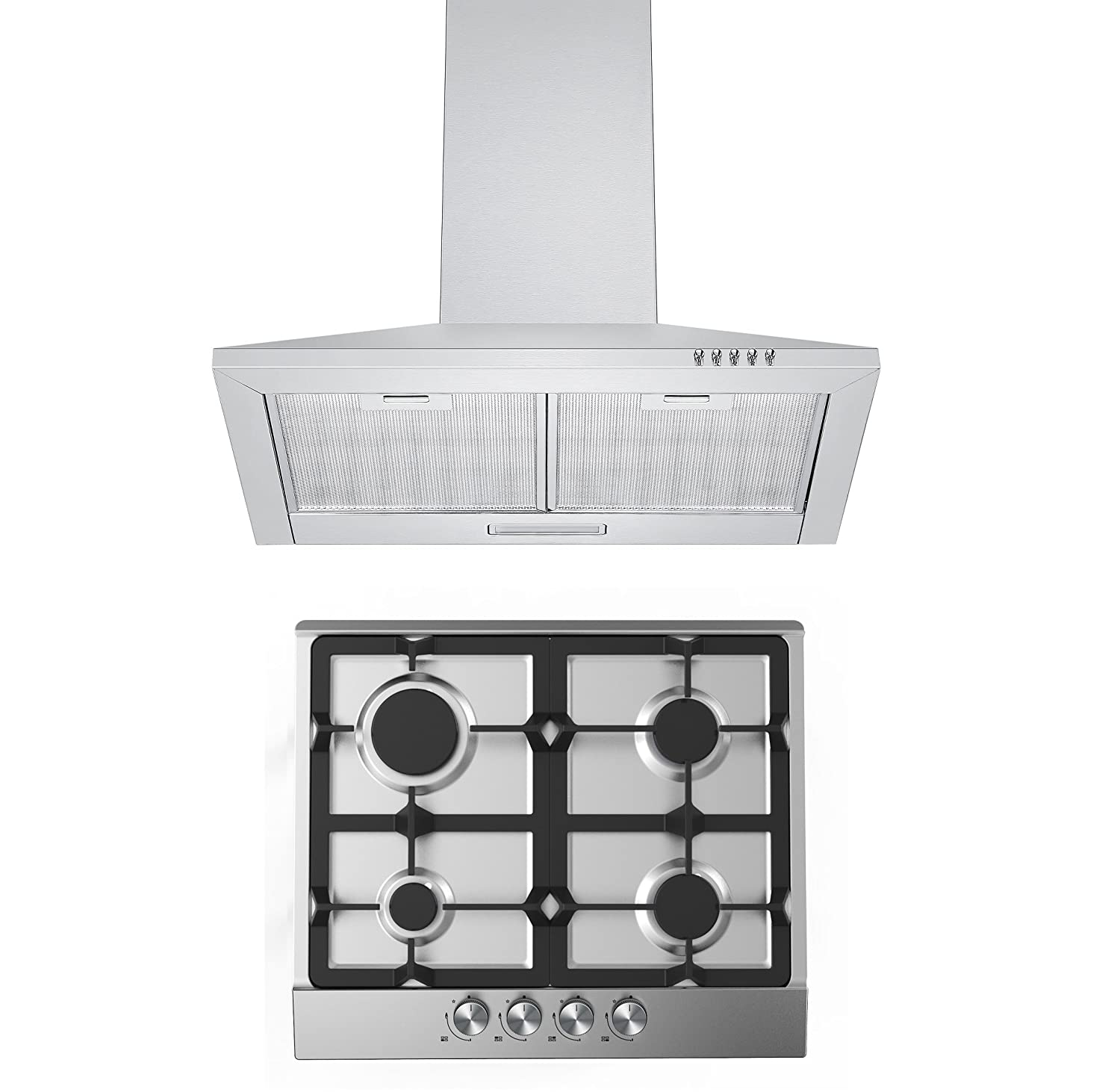 Gas Hob & Hood Pack | Cookology GH605SS Gas Hob & 60cm Stainless Steel Chimney Cooker Hood Pack GH605SS CH600SS