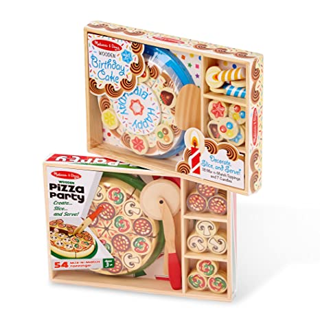 Amazon Com Melissa Doug Pizza Party And Birthday Cake