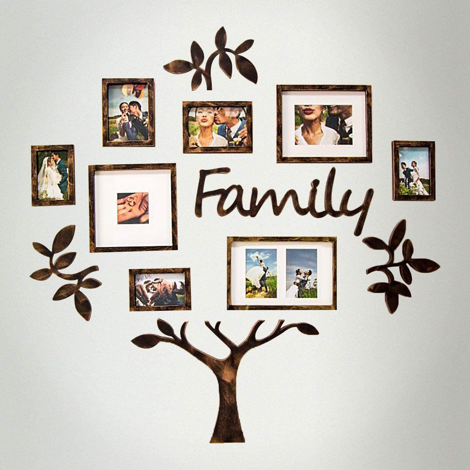JM-Deco Family Tree Photo Frame Collection Gallery Brown Frame Family Love Picture Frames